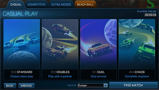 rocket league apk modes